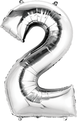 Anagram Number 2 Silver Balloon Perspective: front