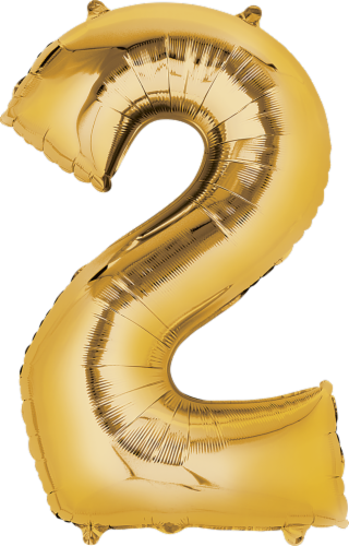 Anagram Number 2 Gold Balloon Perspective: front