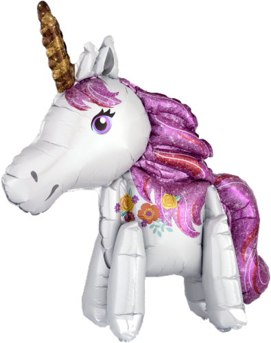 DecoPac Standing Magical Unicorn Inflatable Decoration - White/Purple Perspective: front