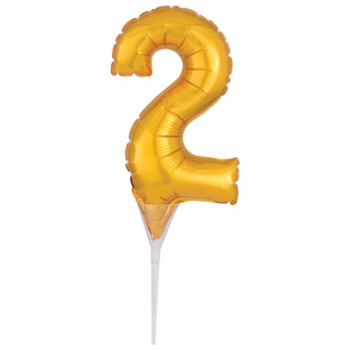 DecoPac Numeral 2 Inflatable Decoration - Gold Perspective: front