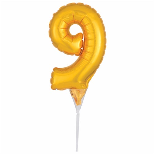 DecoPac Numeral 9 Inflatable Decoration - Gold Perspective: front