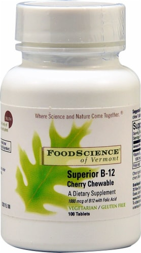 FoodScience of Vermont  Superior B-12   Cherry Tablets Perspective: front