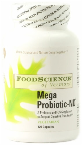 FoodScience of Vermont Mega Probiotic-ND Vegetarian Capsules Perspective: front