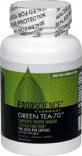 FoodScience of Vermont Green Tea-70 Capsules Perspective: front