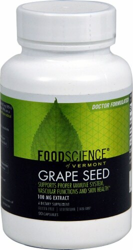 FoodScience of Vermont Grape Seed Extract Capsules 100 mg Perspective: front