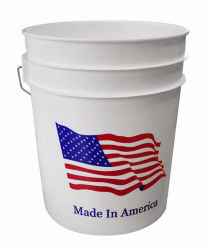 Argee Heavy Duty Plastic Pail - Flag - 5 Gallon - Red/White/Blue Perspective: front