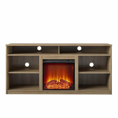RealRooms Vesta Fireplace TV Stand for TVs up to 65 , Natural Perspective: front