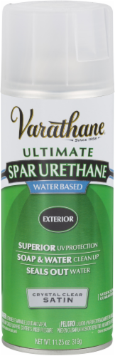 Varathane® Ultimate Spar Urethane Water-Based Satin Finish Spray - Crystal Clear Perspective: front