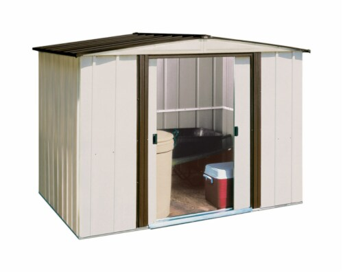 Arrow Newburgh Galvanized Steel Storage Shed - White Perspective: front