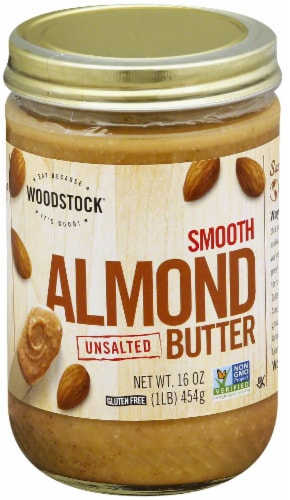 Woodstock Farms Unsalted Creamy Almond Butter Perspective: front