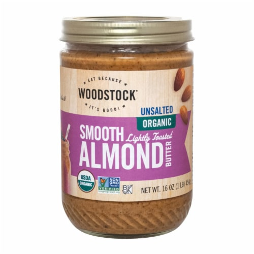 Woodstock Unsalted Organic Smooth Lightly Toasted Almond Butter - 1 Each 1 - 16 OZ Perspective: front
