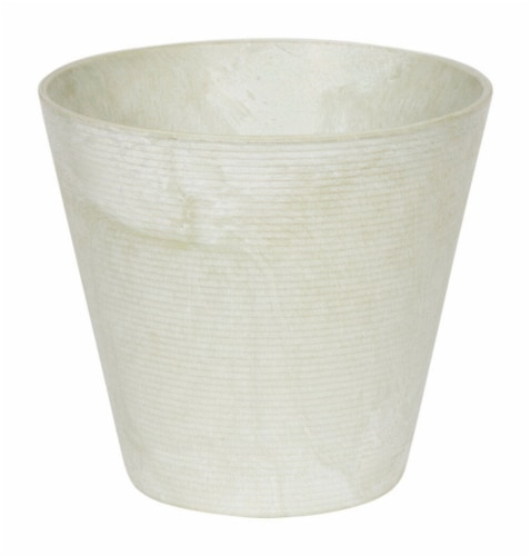 Novelty Artstone 11.5 x 12 in. Dia. Mint Resin & Stone Powder Cali Flower Pot Perspective: front