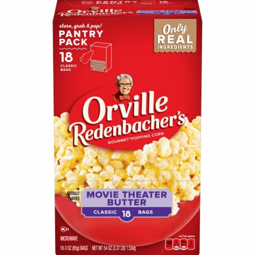 Orville Redenbacker's Movie Theater Butter Microwave Popcorn Perspective: front