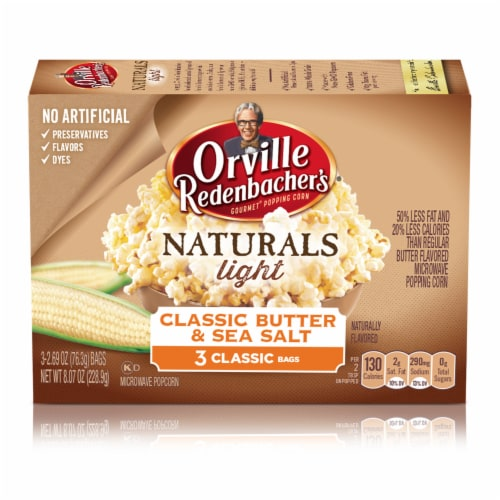 Orville Redenbacher's Naturals Light Classic Butter & Sea Salt Microwave Popcorn Perspective: front