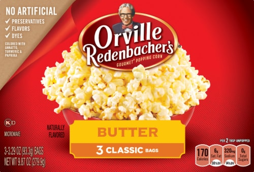 Orville Redenbacher's Butter Popcorn Classic Bags 3 Count Perspective: front