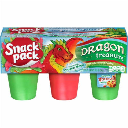 Snack Pack Dragon Treasure Flavored Pudding Cups 6 Count Perspective: front