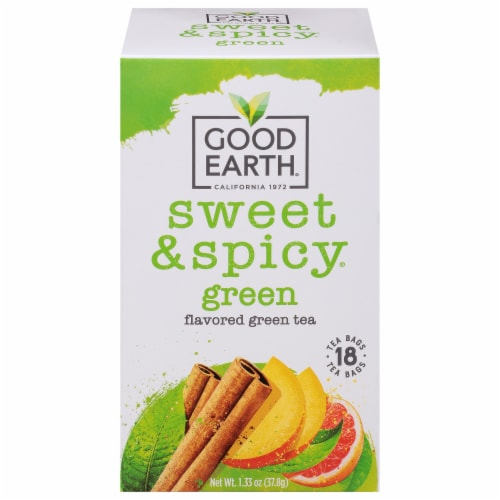 Good Earth Sweet & Spicy Green Tea Bags 18 Count Perspective: front
