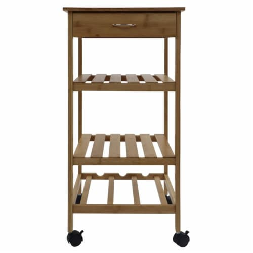 Redmon 5460 15.25 x 15.25 x 31.50 in. Bamboo Kitchen Trolley Perspective: front