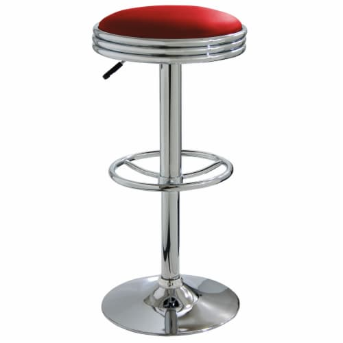 AmeriHome Retro Soda Shop Bar Stool - Red Perspective: front