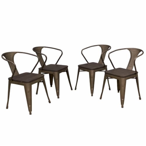 AmeriHome Loft Rustic Gunmetal Metal Dining Chair with Wood Seat- 4 Piece Perspective: front