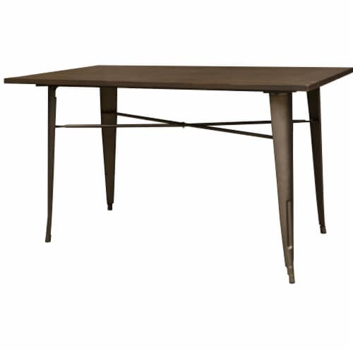 AmeriHome Loft Rustic Gunmetal Metal Dining Table with Wood Top Perspective: front