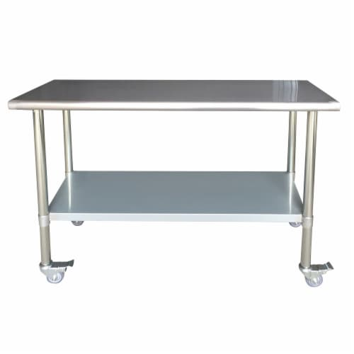 Sportsman Series Stainless Steel Work Table with Casters 24 x 60 Inches Perspective: front