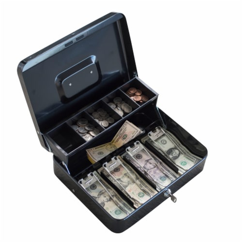 AmeriHome Locking Two-Tiered Cash Box with Steel Construction Perspective: front