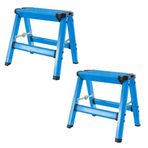 AmeriHome Lightweight Single Step Aluminum Step Stool 2 Piece Set  - Bright Blue Perspective: front