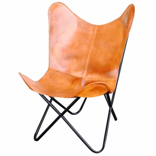 AmeriHome Natural Leather Butterfly Chair in Light Tan Perspective: front