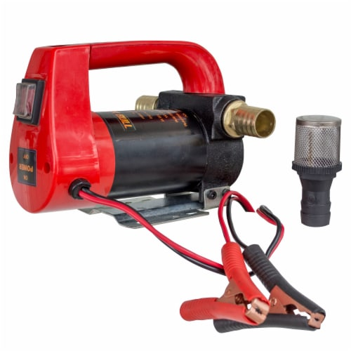 Black Bull 10 GPH High Flow Rate 12 Volt Portable 155 Watts Diesel Oil Pump Perspective: front