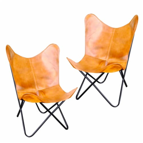 AmeriHome Natural Leather Butterfly Chair in Light Tan, 2 Piece Set Perspective: front