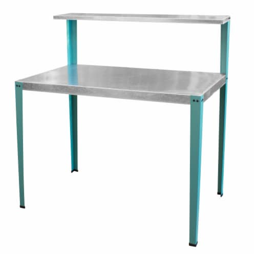 AmeriHome Multi-Use Steel Table/Work Bench with Teal Legs Perspective: front