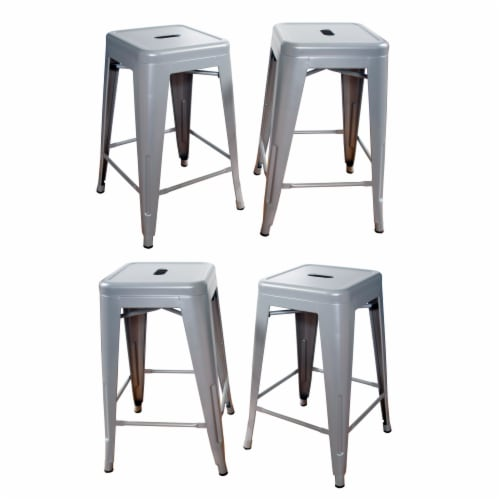 AmeriHome Loft Silver 24 Inch Metal Bar Stool - 4 Piece Perspective: front