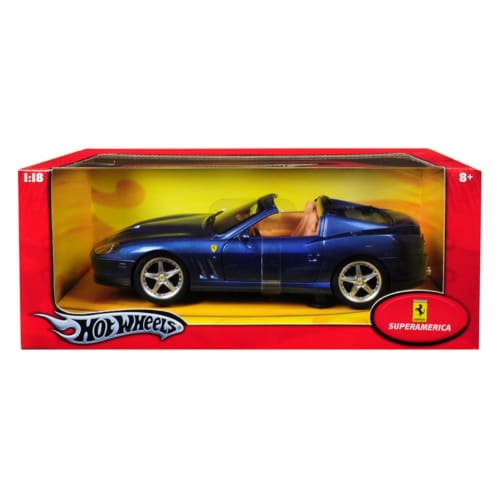 Hot wheels J2872 Ferrari Super America Blue 1-18 Diecast Model Car Perspective: front