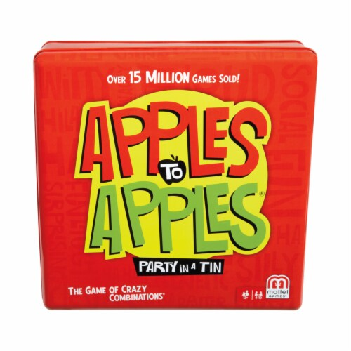 Mattel Apples to Apples Party Tin Card Game Perspective: front