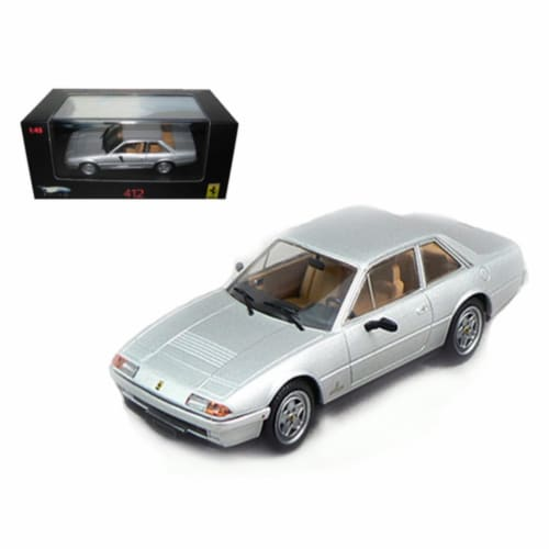 Ferrari 412 Silver Limited Edition Elite 1/43 Diecast Model Car by Hotwheels Perspective: front