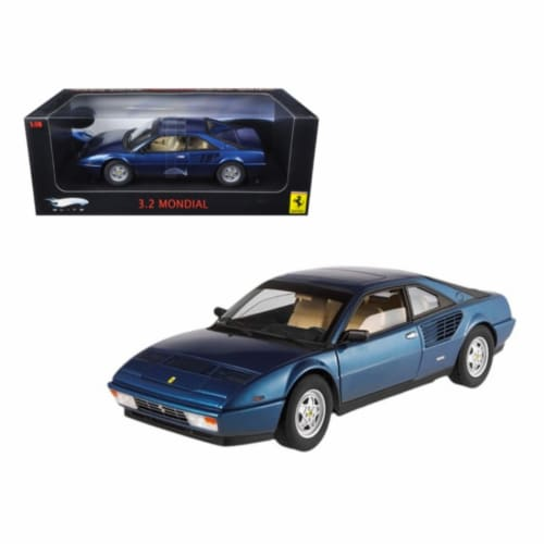 Ferrari Mondial 3.2 Elite Edition Blue 1 of 5000 Produced 1/18 Diecast Car Model by Hotwheels Perspective: front