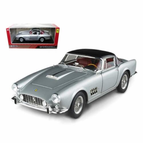 Ferrari 410 Superamerica Silver 1/18 Diecast Car Model by Hotwheels Perspective: front