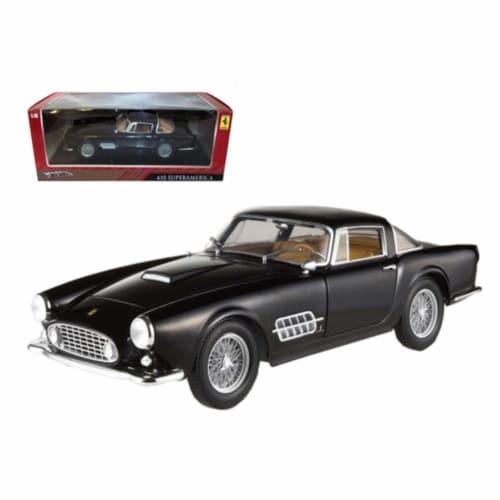 Ferrari 410 Superamerica Black 1/18 Diecast Car Model by Hotwheels Perspective: front