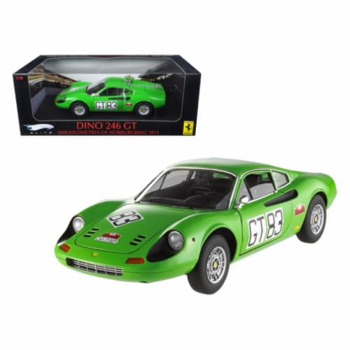 Ferrari Dino 246 GT #83 1000km of 1971 Nurburgring Elite Edition 1/18 Diecast Car Model Perspective: front