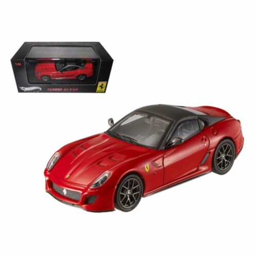 Hot wheels T6267 Ferrari 599 GTO Red with Grey Roof Elite Edition 1-43 Diecast Car Model Perspective: front
