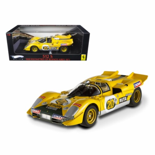 Ferrari 512 S #20 Yellow 1000 Kilometres of Buenos Aires 1971 Elite Edition Model Car Perspective: front