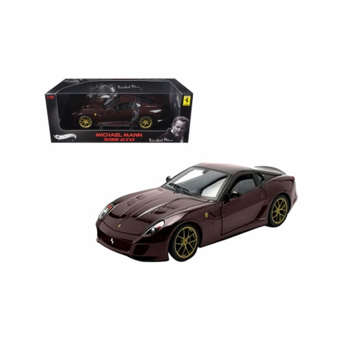 Hot wheels V7424 1 by 18 Scale Diecast Michael Mann Ferrari 599 GTO Burgundy Elite Edition Mo Perspective: front