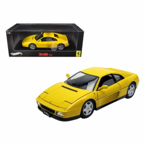 Hot wheels V7437 1 by 18 Scale Diecast 1989 Ferrari 348 TB Yellow Elite Edition Model Car Perspective: front