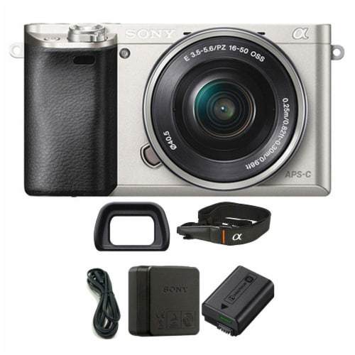 Sony Alpha A6000 Mirrorless Digital Camera With 16-50mm Lens (silver) Perspective: front