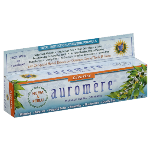 Auromere Licorice Ayurvedic Toothpaste Perspective: front