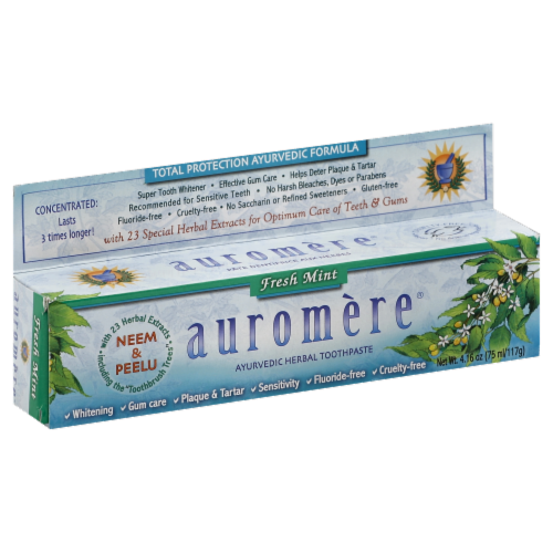 Auromere Fresh Mint Toothpaste Perspective: front