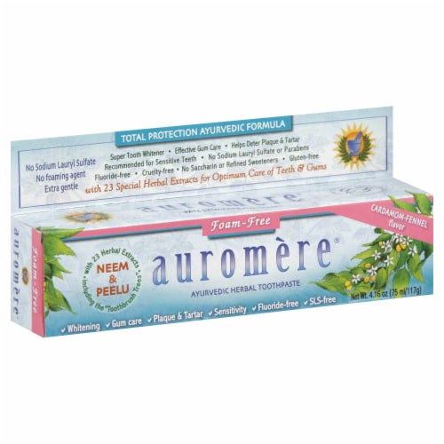 Auromere Cradamom-Fennel Flavor Ayurvedic Herbal Toothpaste Perspective: front