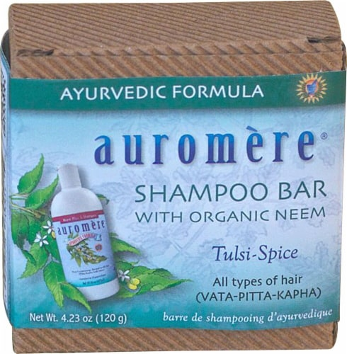 Auromere Shampoo Bar with Organic Neem Tulsi-Spice Perspective: front
