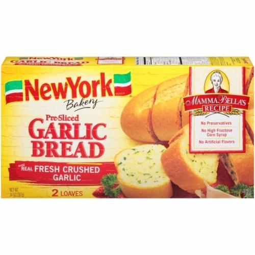 New York Bakery Mamma Bella's Recipe Pre-Sliced Garlic Bread Perspective: front